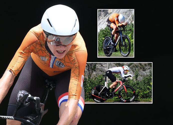 Annemiek van Vleuten (l), Ellen van Dijk (boven) en Marlen Reusser (onder) behoren bij de tijdrit tot de medaillekandidaten.