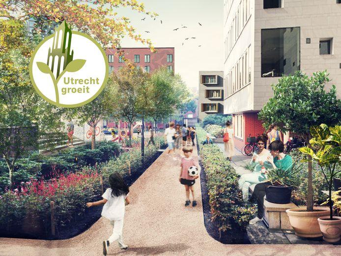 Het toekomstige binnenhof met veel groen, zoals bomen en planten, op de Merwedekanaalzone, de grootste woningbouwlocatie van Utrecht.