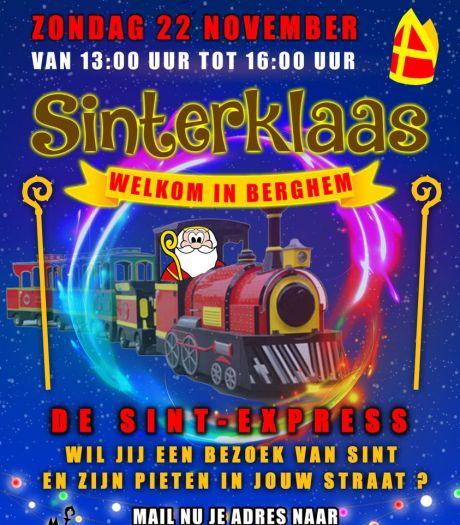 Sinterklaas rijdt in trein door Berghem, in Oss doet hij aan videobellen