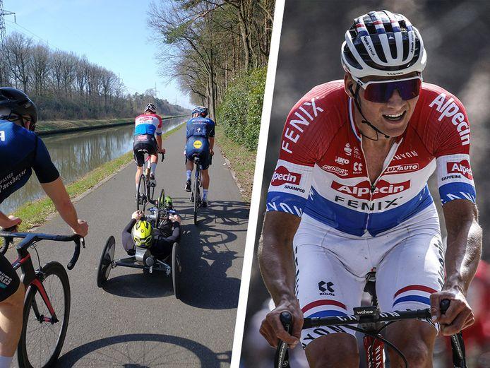 Mathieu van der Poel met trainingsmakkers.