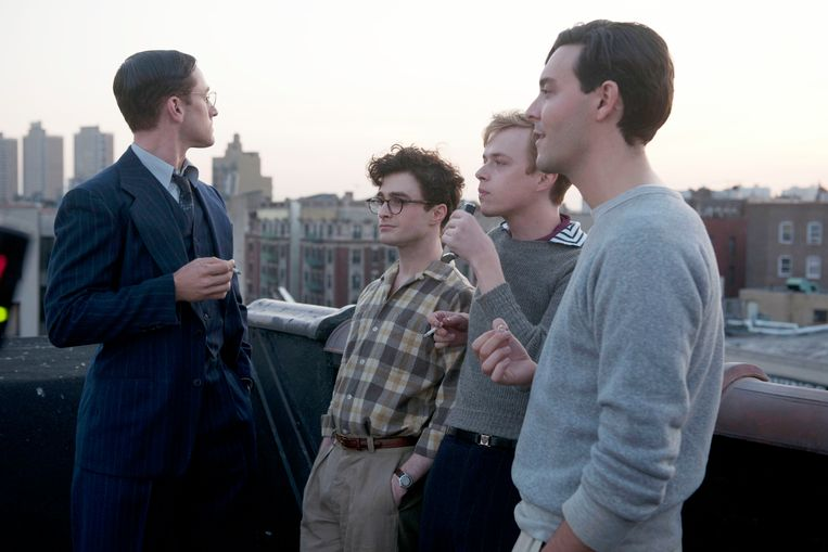 Vanaf links: Ben Foster, Daniel Radcliffe (als Allen Ginsberg), Jack Huston en Dane DeHaan in Kill Your Darlings. Beeld