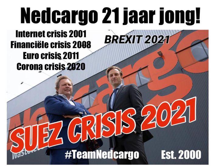 Nedcargo uit Waddinxveen is klaar voor de 'Suez-crisis'. Links Diederik Jan Antvelink.