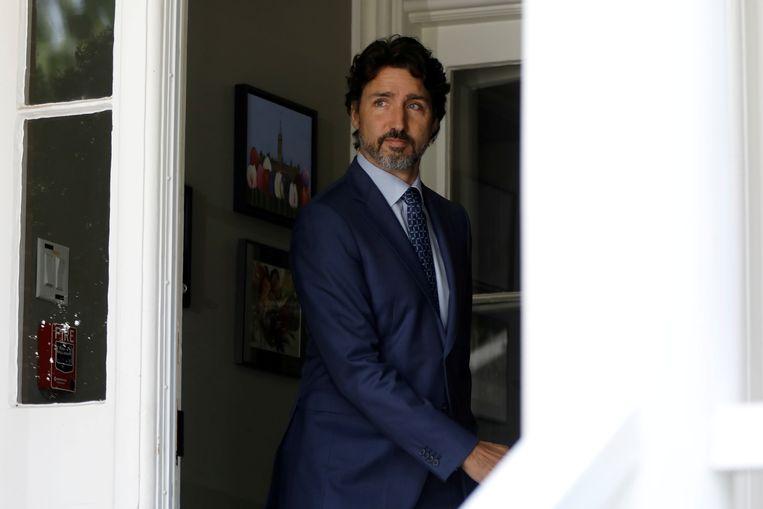 Premier Justin Trudeau bij Rideau Cottage.  Beeld REUTERS