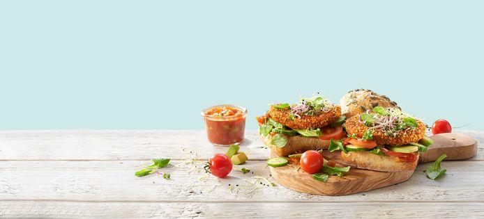 Sandwich met pittige falafelballetjes van Jumbo.