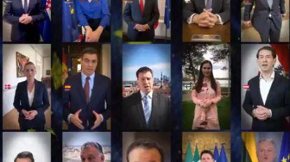 27 EU-leiders roepen in video samen op tot solidariteit