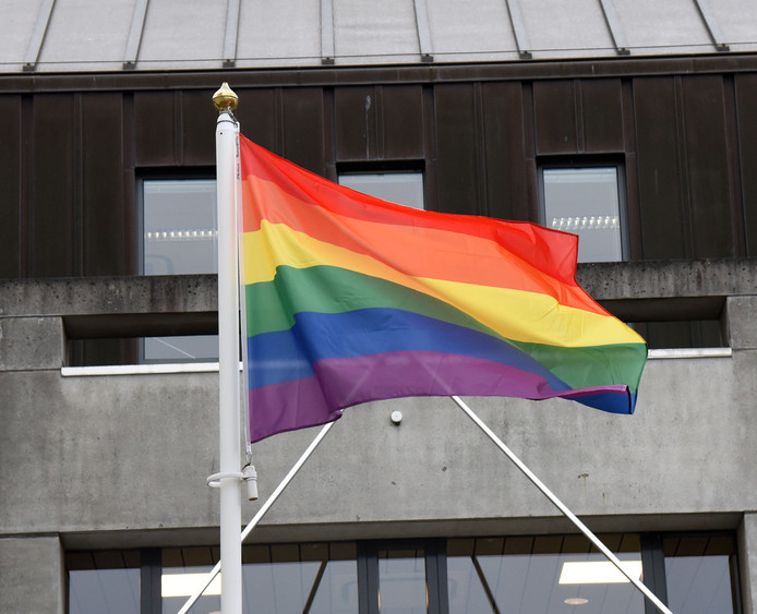 Regenboogvlag voor het stadhuis van Hulst.