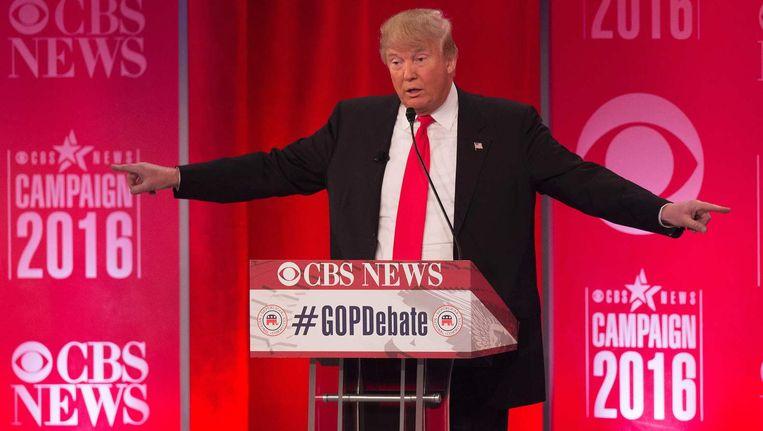 Donald Trump tijdens het Republikeinse debat in Greenville, North Carolina. Beeld afp