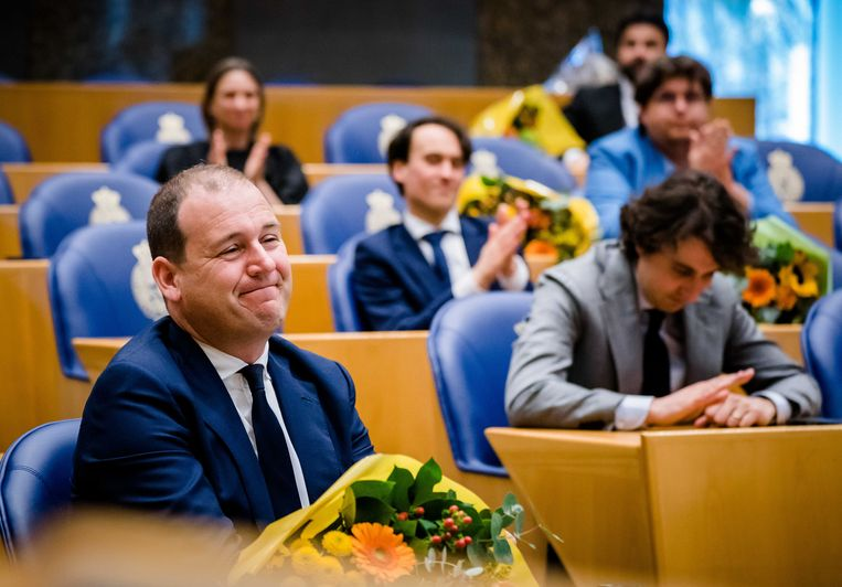 Lodewijk Asscher (PvdA) tijdens het afscheid van Kamerleden. Beeld ANP