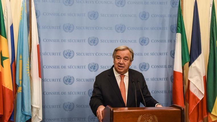 In College Tour blikt Guterres terug op zijn eerste jaar als secretaris-generaal van de VN. Beeld anp