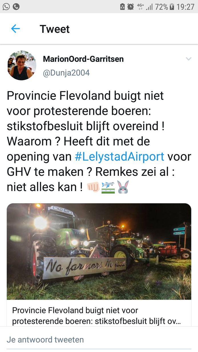 Op sociale media wordt een link gelegd tussen het strenge stikstofbeleid van Flevoland en het streven naar uitbreiding van Lelystad Airport.