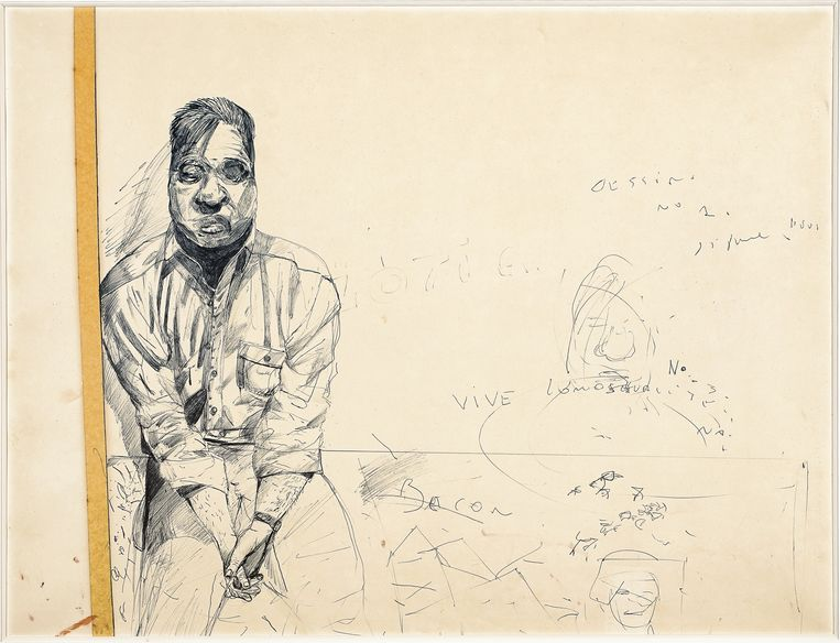 Stéphane Mandelbaum, 'Francis Bacon (tekening nr. 1)', Rond 1980. Beeld Roger Asselberghs