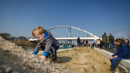 Tientallen kijklustigen zien hoe stalen brug van 1.600 ton wordt geplaatst... behalve die ene kleuter