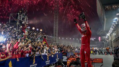 Ferrari viert feestje in Singapore: Vettel wint op stratencircuit, Leclerc tweede
