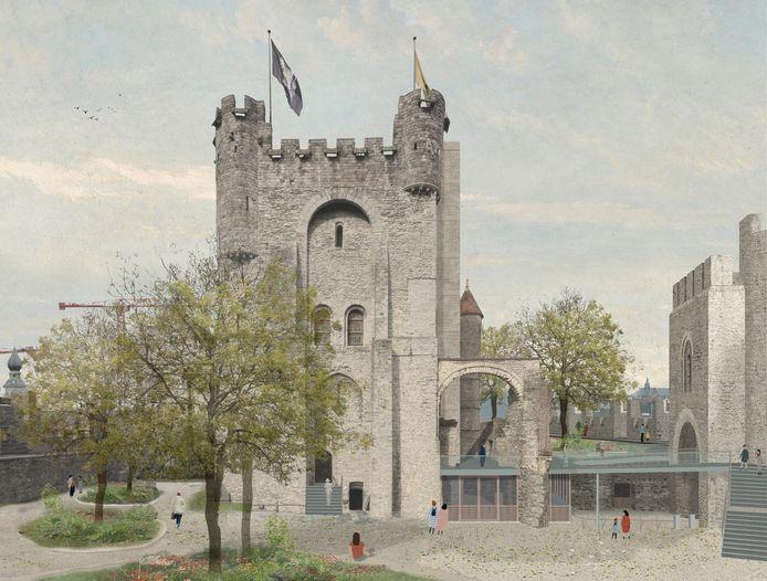 Toekomstbeeld van het Gravensteen, met een lifttoren tegen de donjon.