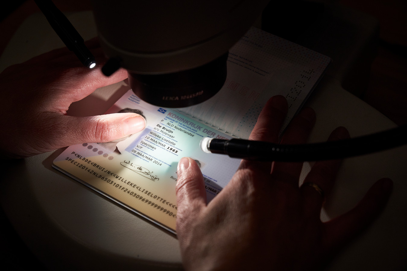 Inspectie van een paspoort.