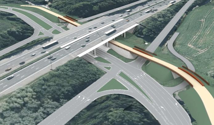 Op dit beeld zie je hoe de zwevende brug fietsers en voetgangers onder de Ring doorloodst.
