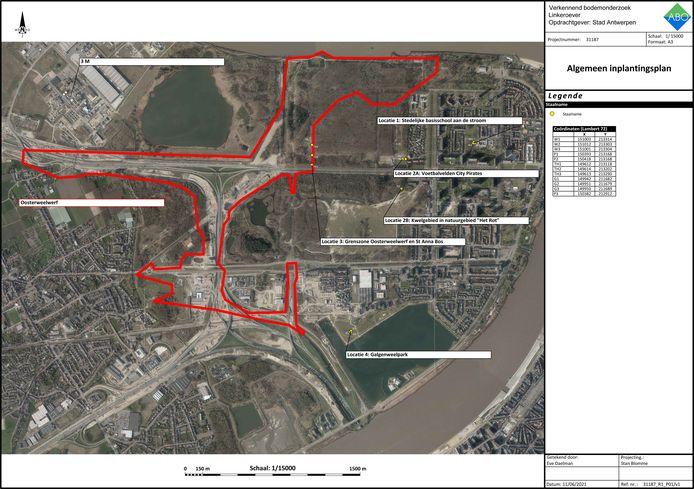 Een kaart van de zones op Linkeroever waar het onderzoek is gevoerd.