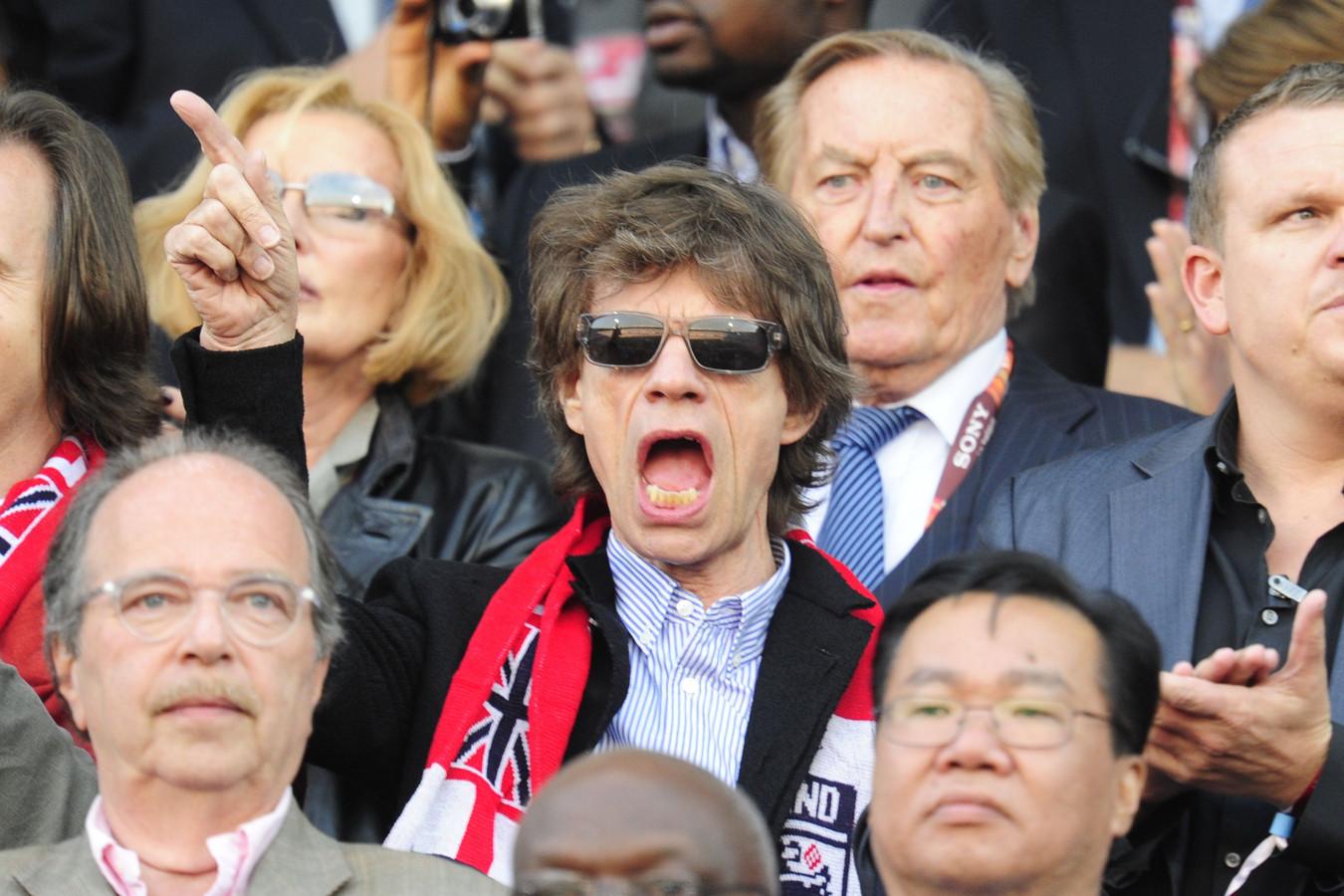 Mick Jagger in Bloemfontijn bij de wedstrijd tussen Engeland en Duitsland.