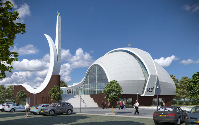 Een impressie van het nieuw te bouwen Turks Cultureel Centrum met moskee dat op de hoek van de Kuipersdijk en de Wethouder Beversstraat wordt gebouwd.