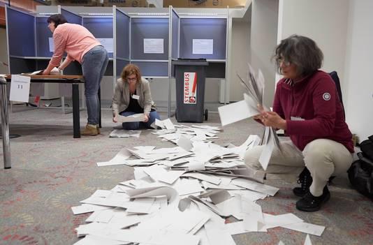 Stemmen tellen in een stembureau.
