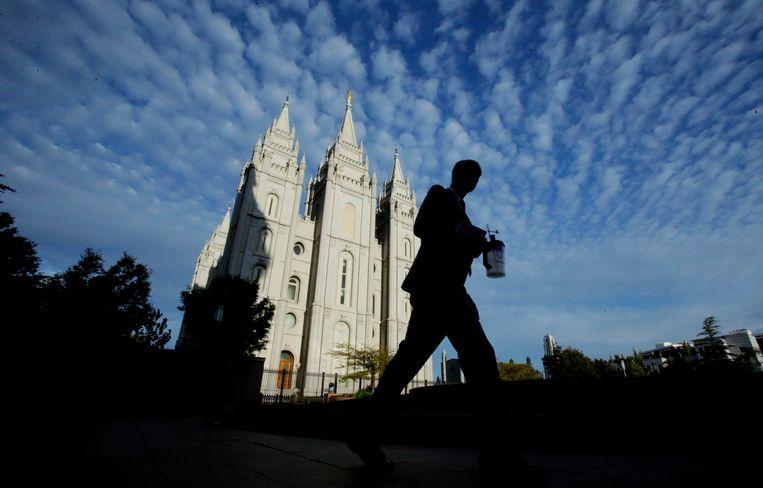 De Salt Lake Tempel in de stad waar het hoofdkwartier van de Mormoonse kerk is gevestigd, Salt Lake City in de staat Utah.  Beeld AP