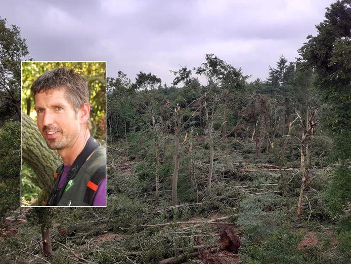 Een deel van het bos bij Leersum is weggevaagd, vertelt boswachter Rein Zwaan