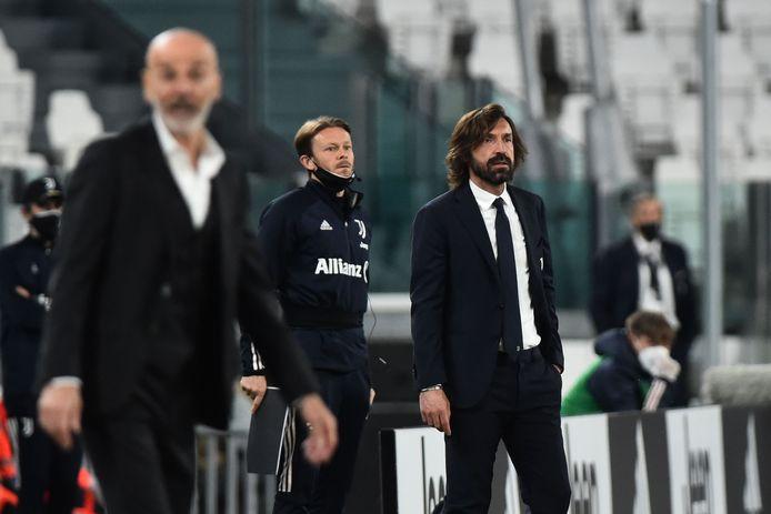 Juventus-trainer Andrea Pirlo tijdens het duel met AC Milan.