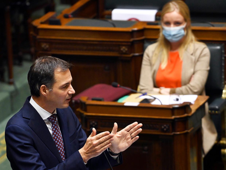 Premier Alexander De Croo (Open Vld): 'Laten we vertrouwen hebben dat de maatregelen die we namen de juiste zijn.' Beeld Photo News