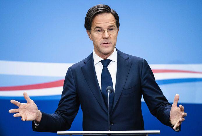 Minister-president Mark Rutte tijdens een persconferentie.