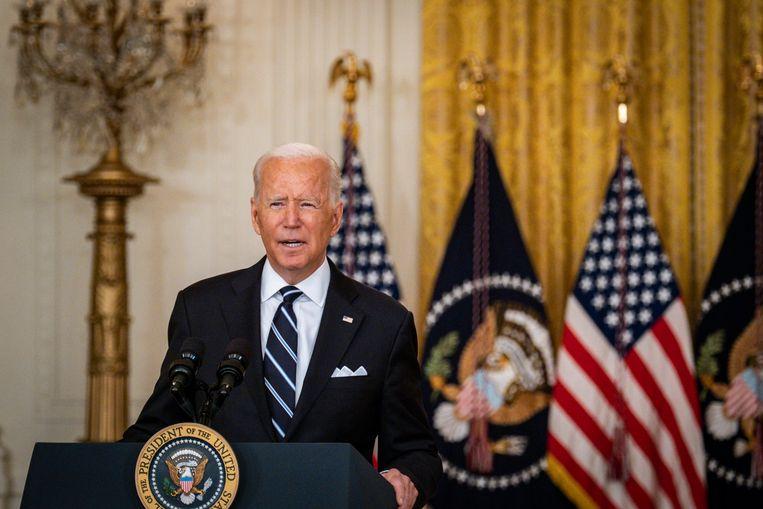 Amerikaans president Joe Biden tijdens een toespraak eerder deze maand. Beeld Photo News