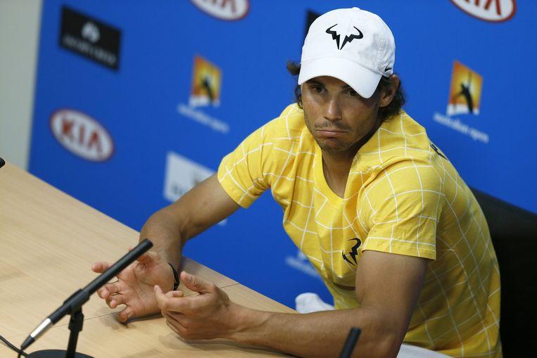 Rafael Nadal tijdens de persconferentie na afloop van de wedstrijd. Beeld null