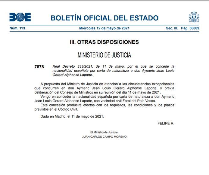 Het officiële document waarin staat dat Laporte een Spaanse nationaliteit krijgt.