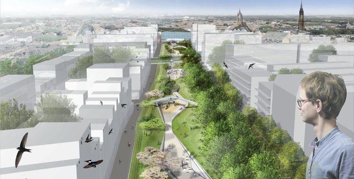 Het toekomstige Van Leeuwenhoekpark in Nieuw Delft met bebouwing er omheen.