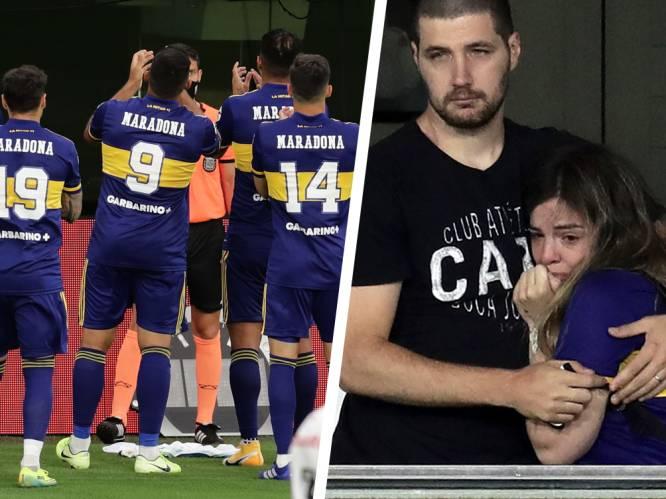 Dochter van Maradona in tranen na aangrijpende hommage van Boca Juniors aan haar vader