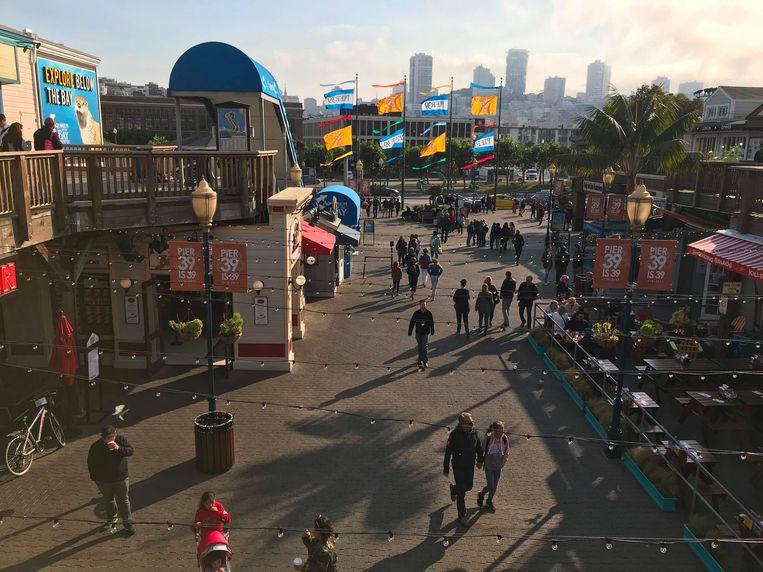 Pier 39 in San Francisco, waar de man volgens de FBI op Eerste Kerstdag een aanslag wilde plegen. Beeld AFP