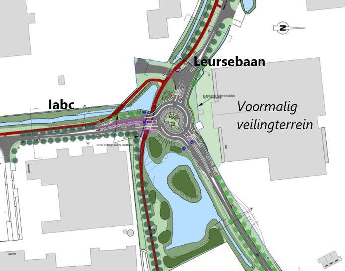 Het definitief ontwerp voor de turborotonde van Leursebaan en Iabc in Breda. De rode lijn is het fietspad.