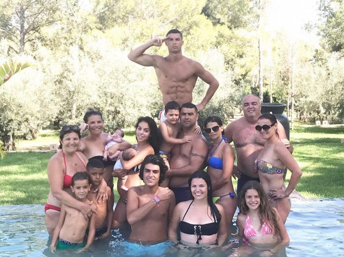 Cristiano Ronaldo met de familie.