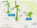 Zoekgebied voor de windmolens op Doetinchems grondgebied en de plek voor het plan voor het zonnepark nabij Langerak.