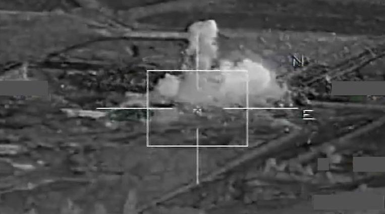 Beeld van een Franse luchtaanval in Raqqa. Beeld afp