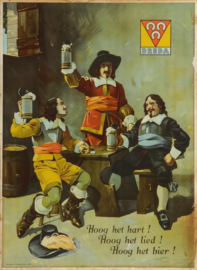 Een litho uit omstreeks 1948. In de reclame-uitingen werd vaak gebruik gemaakt van klassieke Bourgondische personages als de Drie Musketiers.