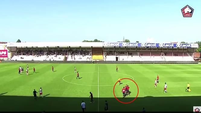 Ongeziene taferelen: twee spelers van het Franse Lille gaan met elkaar op de vuist in oefenmatch tegen KV Kortrijk