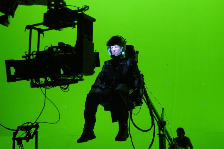 Opnamen voor Battlestar Galactica voor een groen scherm. Beeld Getty