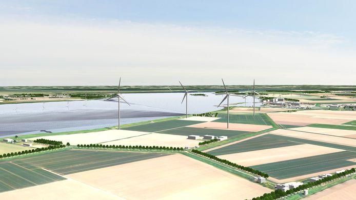 Artist impression van de vier toekomstige windmolens in de Karolinapolder bij Dinteloord.