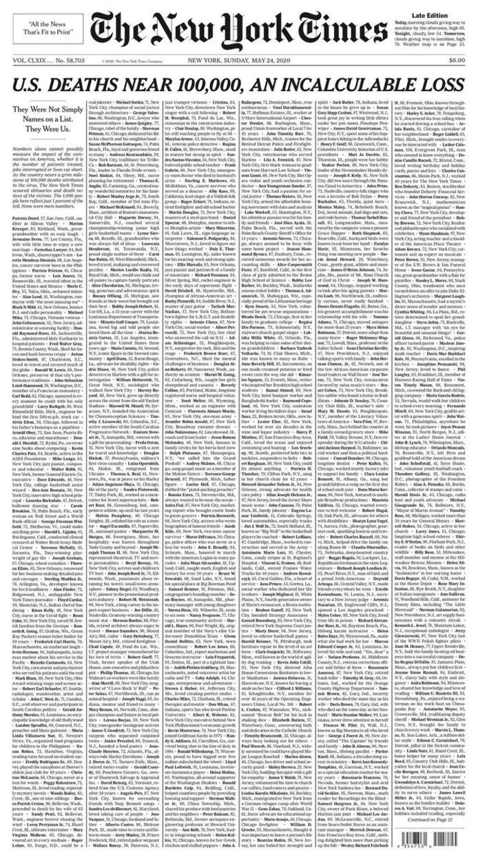 De voorpagina van The New York Times op 24 mei 2020