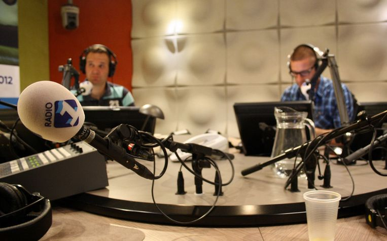Jeroen Stomphorst en Jurgen van den Berg tijdens de presentatie van de Radio 1 Sportzomer in 2012. Door velen gezien als het voorbeeld van een geslaagde samenwerking van omroepen op Radio 1. Beeld NPO Radio 1