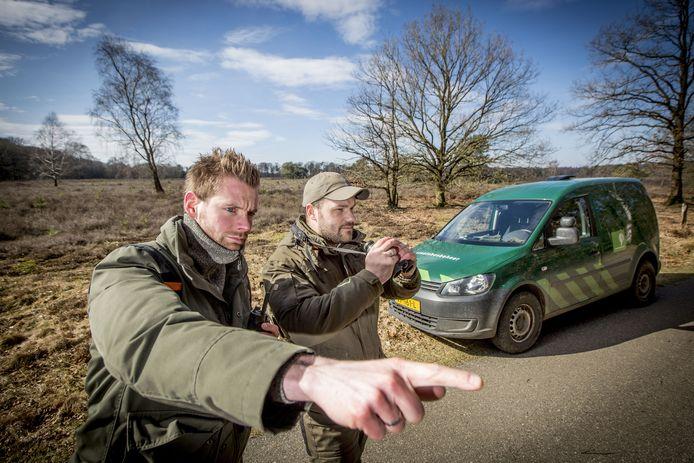 Surveillance actie Staatsbosbeheer Twente. Op de foto boswachters Jeroen Buunen en Rick Staudt (met pet) tijdens controle in natuurgebied Springendal.