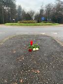 Op de plek in Zeist waar de moeder van Myrthe Boss werd aangereden door een automobilist, werden bloemen en een kaars geplaatst.