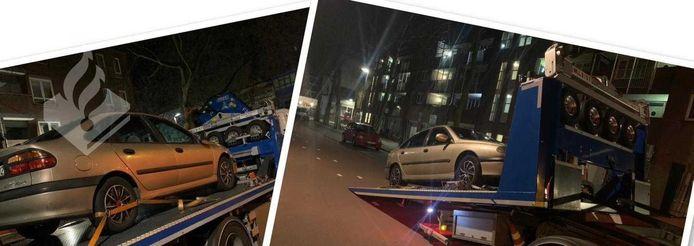 Het spookvoertuig op de Afrikaweg wordt afgevoerd door de politie.