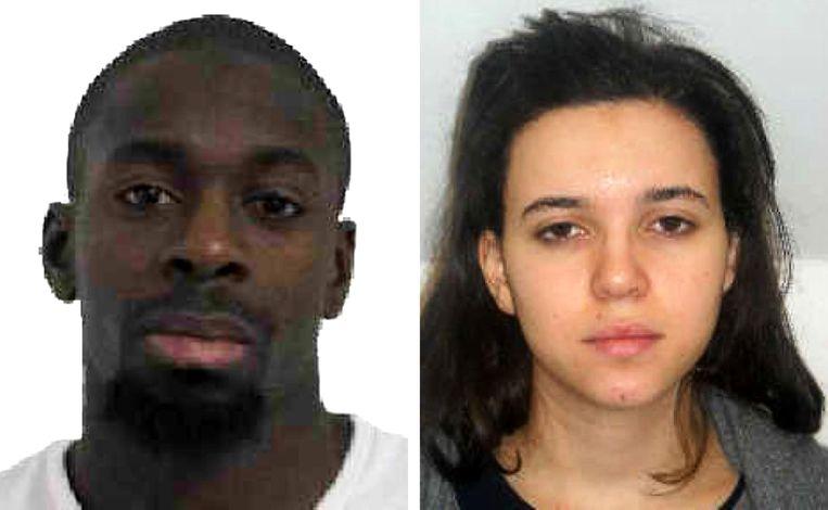 Een foto van Franse politie met rechts Hayat Boumeddienne die nu gezocht wordt. Links haar vriend Amedy Coulibaly, de gijzelaar die gisteren werd doodgeschoten bij een supermarkt. Beeld Getty Images