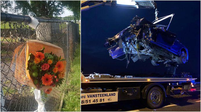 Op de plaats van het ongeval hangen bloemen voor dodelijk slachtoffer Timothy. Rechts de totaal verhakkelde Maserati.